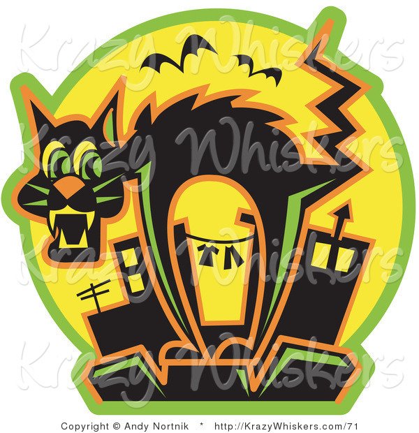 Critter Clipart of a Halloween Scared Black Cat Arching Its Back As Bats Fly by While Standing on Top of a City Building