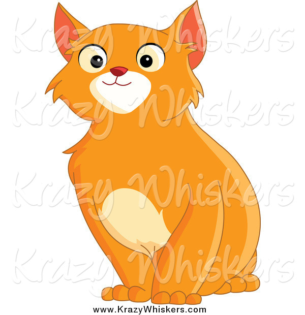 Critter Clipart of a Handsome Sitting Orange Cat