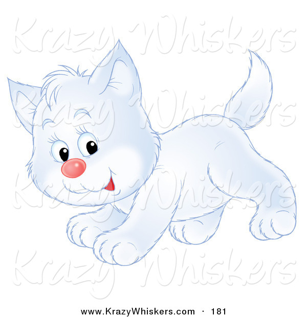Critter Clipart of a Happy and Cute Playful White Kitty Cat Running past
