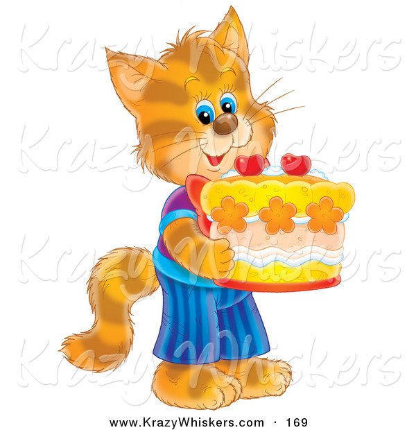 Critter Clipart of a Happy and Cute Striped Kitty Cat in Clothes, Standing on Its Hind Legs and Holding a Birthday Cake