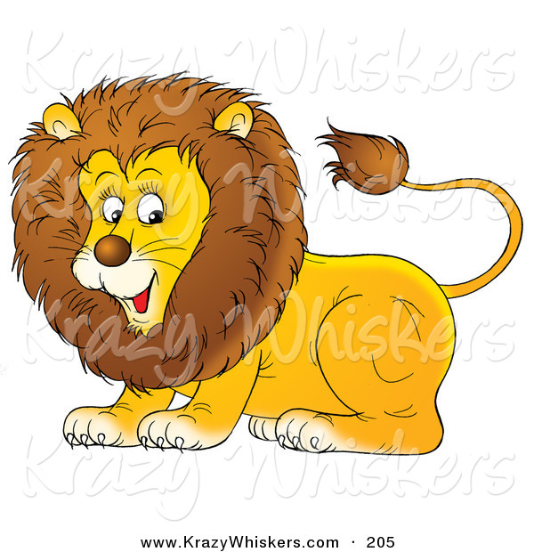 Critter Clipart of a Happy and Playful Young Male Lion with a Furry Mane