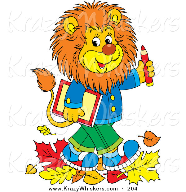 Critter Clipart of a Happy and Smart Young Male Lion Wearing Clothes, Walking Through Fallen Leaves and Carrying a Book and Pencil to School