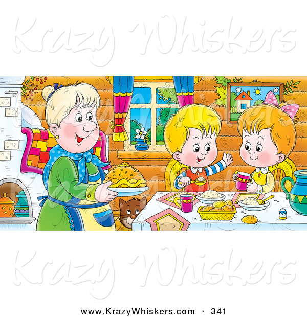 Critter Clipart of a Happy and Smiling Boy and Girl at a Table, Eating Fresh Food Made by Grandma