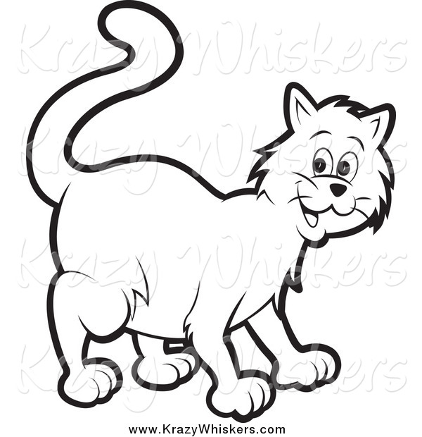 Critter Clipart of a Happy Black and White Cat