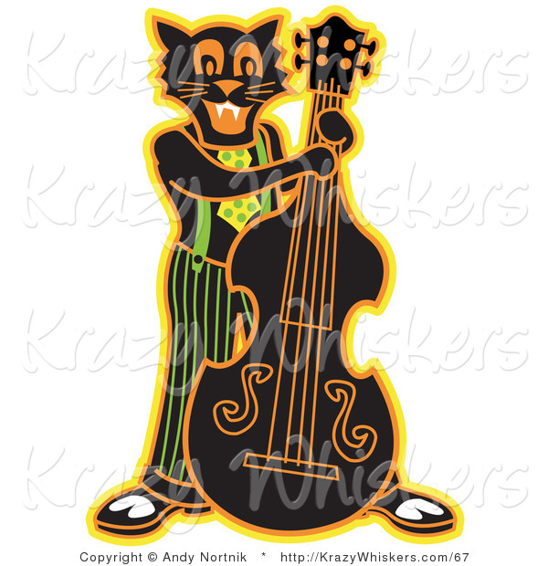 Critter Clipart of a Happy Black Cat Playing a Bass Fiddle in a Band