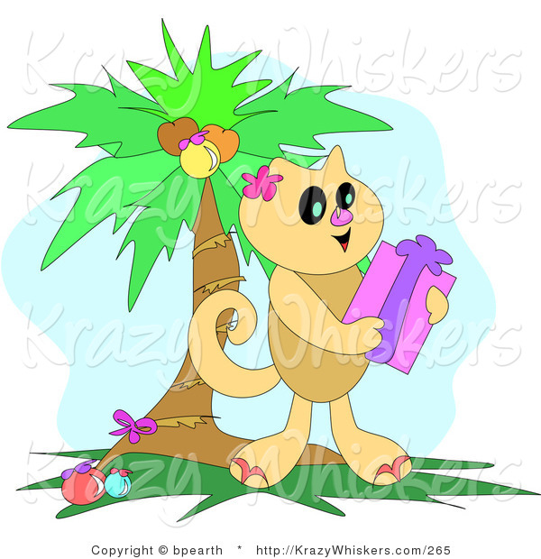 Critter Clipart of a Happy Brown Cat Holding a Christmas Gift Under a Decorated Palm Tree