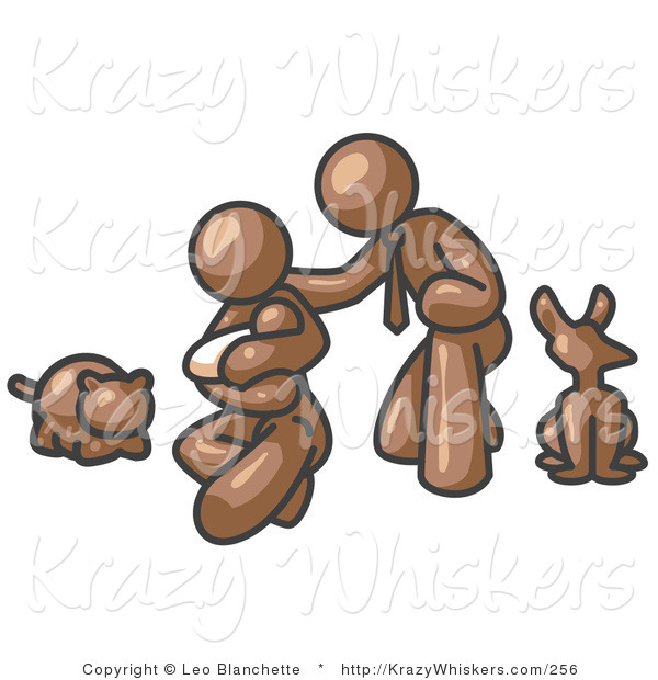 Critter Clipart of a Happy Brown Family, Father, Mother and Newborn Baby with Their Dog and Cat