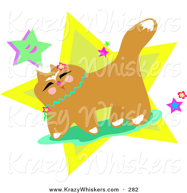 Critter Clipart of a Happy Brown Japanese Cat with Flowers and StarsHappy Brown Japanese Cat with Flowers and Stars