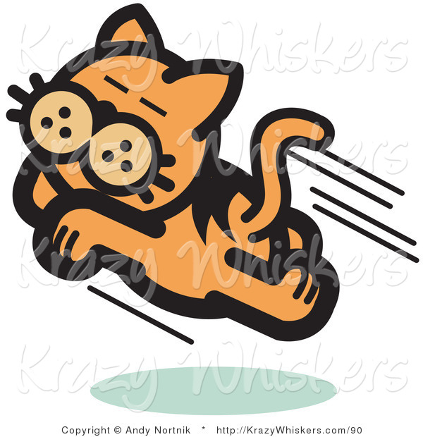 Critter Clipart of a Happy Cat Running and Pouncing Through the Air
