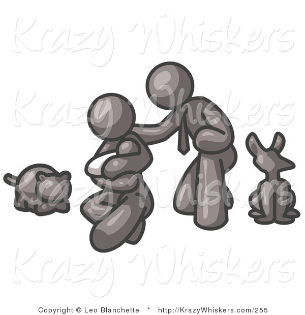 Critter Clipart of a Happy Gray Family, Father, Mother and Newborn Baby with Their Dog and Cat