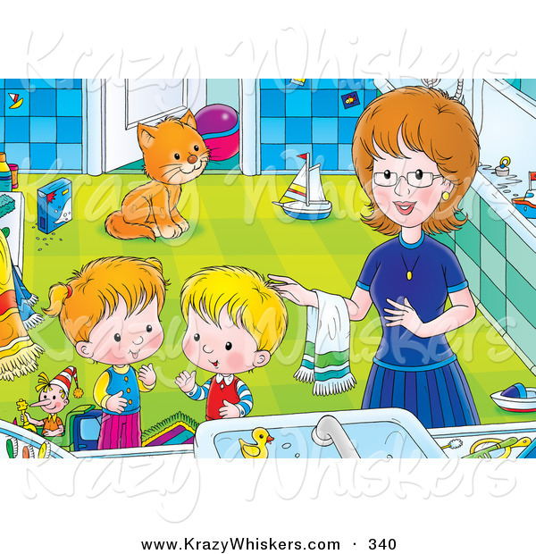 Critter Clipart of a Happy Mom Helping Her Children Get Cleaned up in a Bathroom, a Cat Watching in the Background