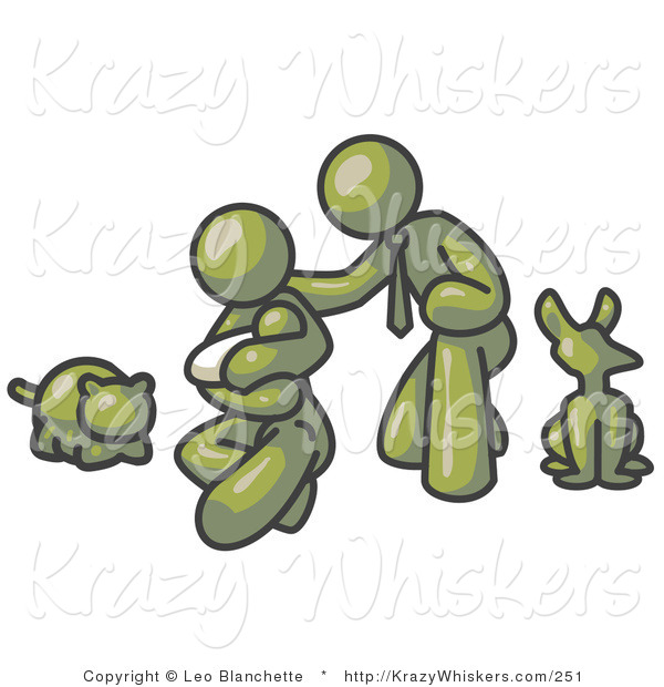 Critter Clipart of a Happy Olive Green Family, Father, Mother and Newborn Baby with Their Dog and Cat