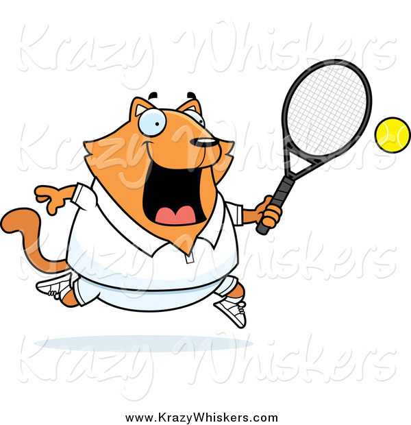 Critter Clipart of a Happy Orange Cat Playing Tennis