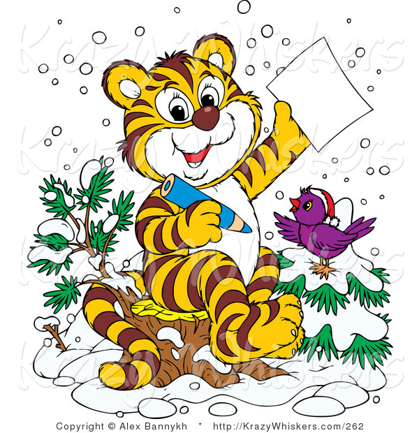 Critter Clipart of a Happy Purple Bird in the Snow, Wearing a Santa Hat, Perched on a Tree by a Tiger Who Is Writing a Dear Santa Letter for Christmas