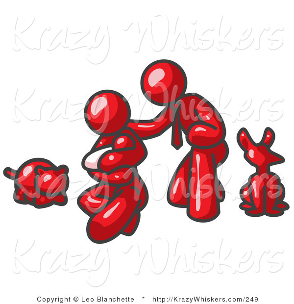 Critter Clipart of a Happy Red Family, Father, Mother and Newborn Baby with Their Dog and Cat