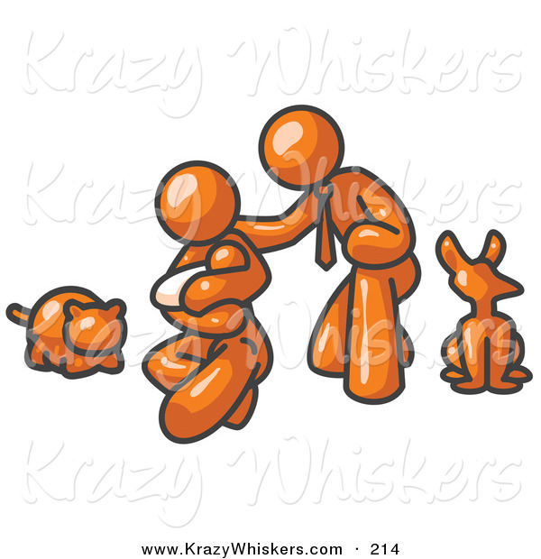 Critter Clipart of a Happy Shiny Orange Family, Father, Mother and Newborn Baby with Their Dog and Cat