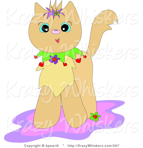 Critter Clipart of a Happy Tan Kitty Cat with a Colorful Collar, Standing on a Pink and Purple Rug