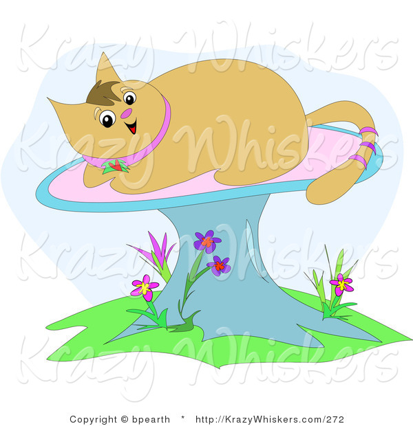 Critter Clipart of a Happy Tan Kitty Cat with a Pink Ringed Tail, Sun Bathing on a Mushroom