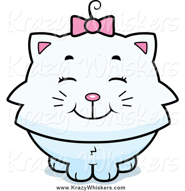 Critter Clipart of a Happy White Kitten