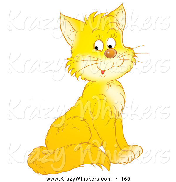 Critter Clipart of a Happy Yellow Kitty Cat with White Cheeks and Chest