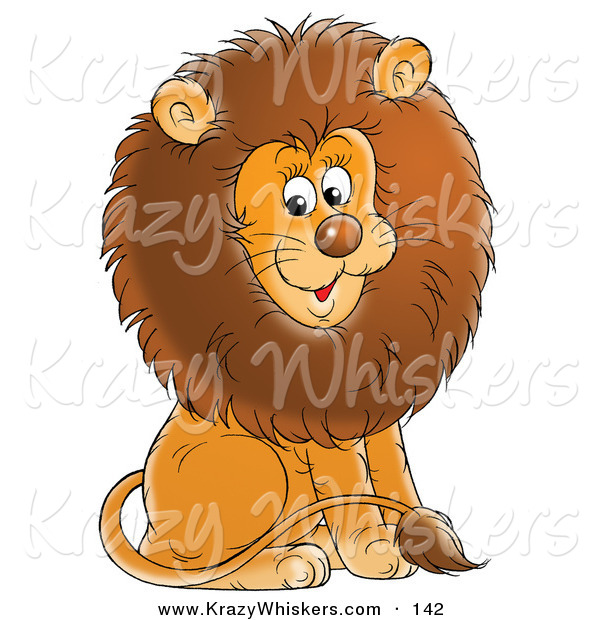 Critter Clipart of a Happy Young Male Lion with a Big Brown Mane, Sitting and Smiling