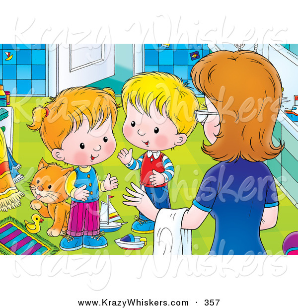 Critter Clipart Of A Helpful Mother Instructing Her Two Little Children To Clean Up The Messy
