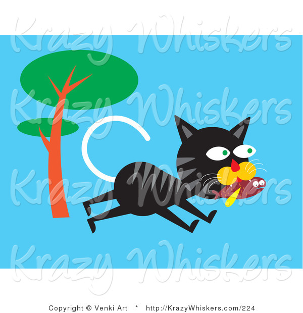 Critter Clipart of a Hungry Black and Gray Alley Cat Running past a Tree and Carrying a Fish in His Mouth