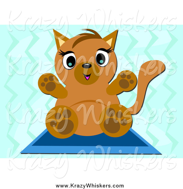 Critter Clipart of a Kitten on a Mat over Blue