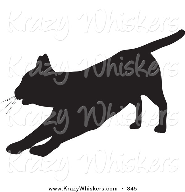Critter Clipart of a Lazy House Cat Silhouetted in Black, Stretching out on Its Front Legs