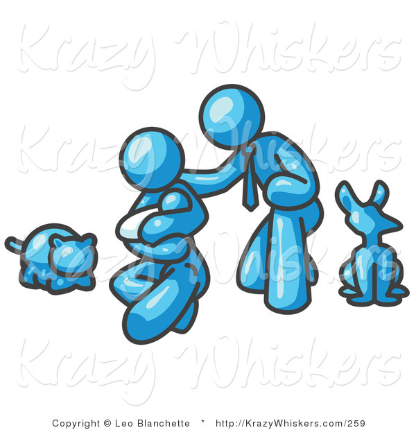 Critter Clipart of a Light Blue Family, Father, Mom and Newborn Baby with Their Dog and Cat