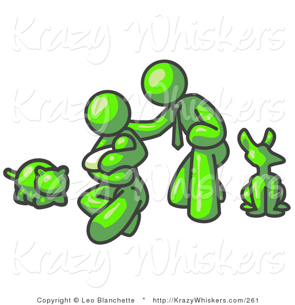 Critter Clipart of a Lime Green Family, Father, Mom and Newborn Baby with Their Dog and Cat