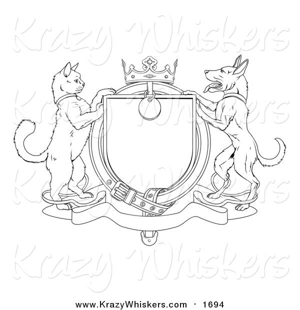 Critter Clipart of a Lineart Cat and Dog Heraldic Coat of Arms Shield