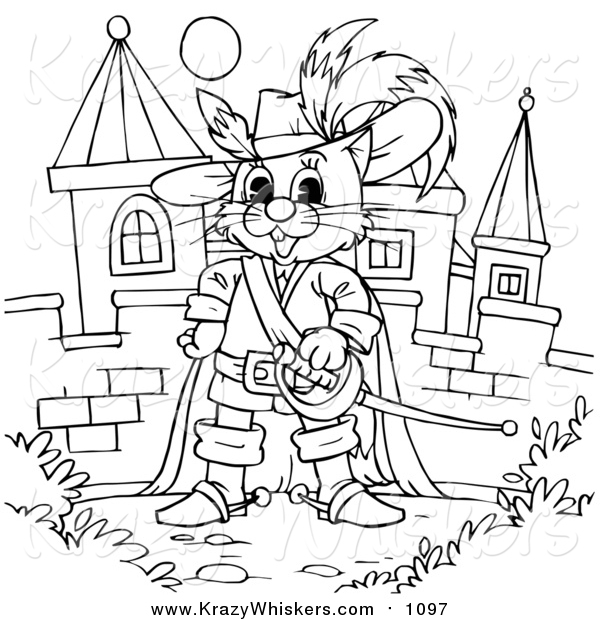 Critter Clipart of a Lineart Puss in Boots by a Castle