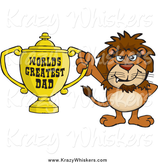 Critter Clipart of a Lion Holding a Golden Worlds Greatest Dad Trophy