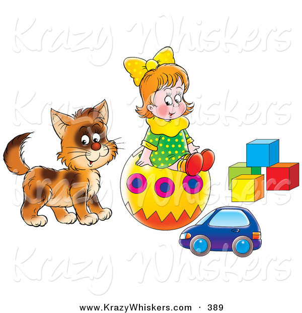 Critter Clipart of a Little Girl and Kitty Playing with a Toy Car, Ball and Blocks
