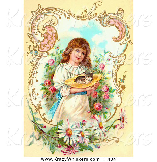 Critter Clipart of a Little Victorian Girl Painting Gently Carrying a Calico Kitten in a Hat Through a Rose Garden, Framed by Scrolls and Daisies