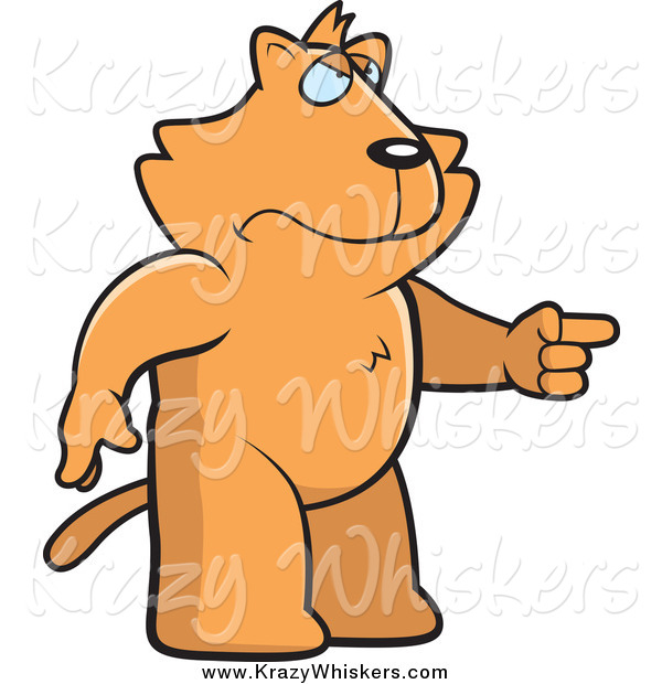 Critter Clipart of a Mad Ginger Cat Angrily Pointing