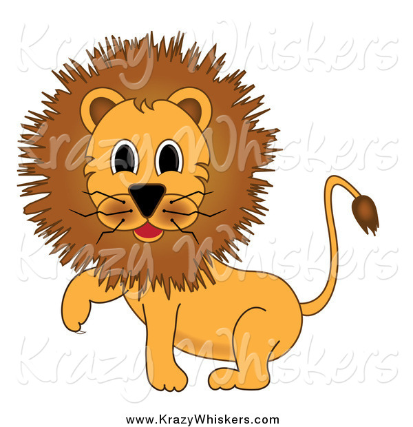 Critter Clipart of a Male Lion Walking