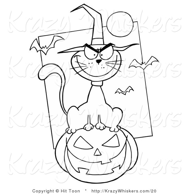 Critter Clipart of a Mean Halloween Cat - Royalty Free