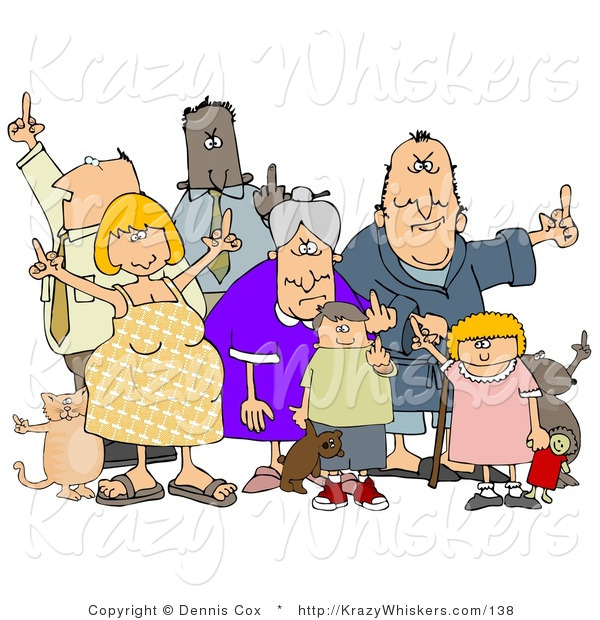 Critter Clipart of a Mob of Angry People of All Ages and Mixed Ethnicities, Standing with a Dog and a Cat and Flipping People off