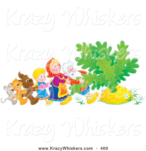 Critter Clipart of a Mouse, Cat, Dog, Girl, Woman and Man Trying to Pull a Giant Carrot or Turnip out of the Buried Ground