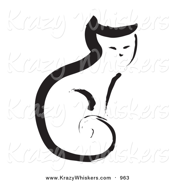 Critter Clipart of a Painted Cat Sitting Upright with Its Tail Curled to Its Body