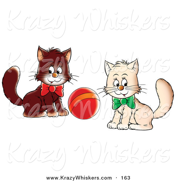Critter Clipart of a Pair of White and Brown Kittens Wearing Bows, Playing with a Ball, Glancing at the Viewer