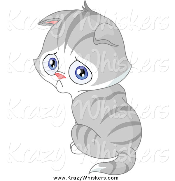 Critter Clipart of a Pouting Gray Kitten Looking over His Shoulder