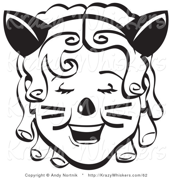 Critter Clipart of a Pretty Ringler-Haired Girl Wearing a Cat Eared Headband on Halloween Black and White