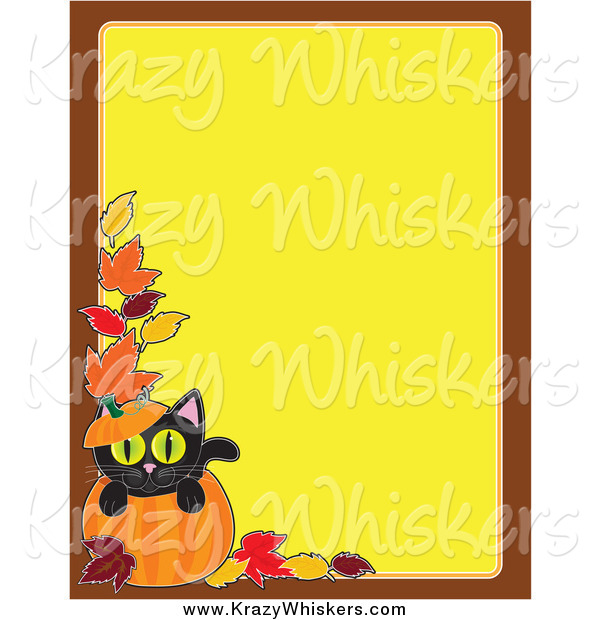 Critter Clipart of a Pumpkin and Black Cat Halloween Background