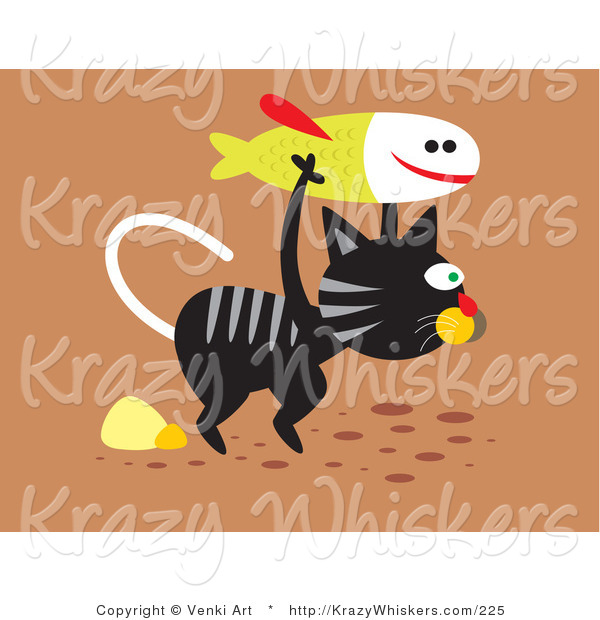 Critter Clipart of a Really Hungry Black and Gray Striped Stray Cat Carrying a Fish for Food