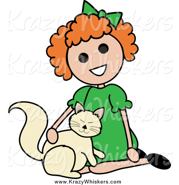 Critter Clipart of a Red Haired Girl Petting a Cat