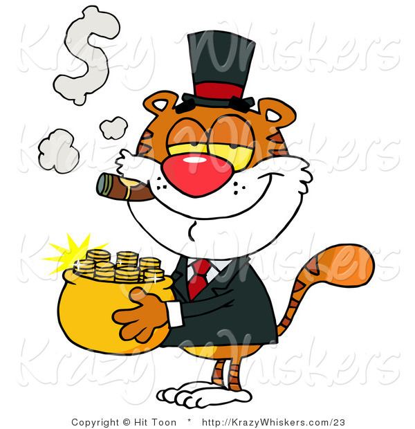 Critter Clipart of a Rich Tiger Carrying a Pot of Gold While Smoking a Cigar