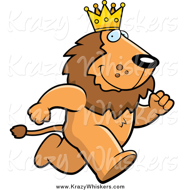 Critter Clipart of a Running King Lion Wearing a Crown
